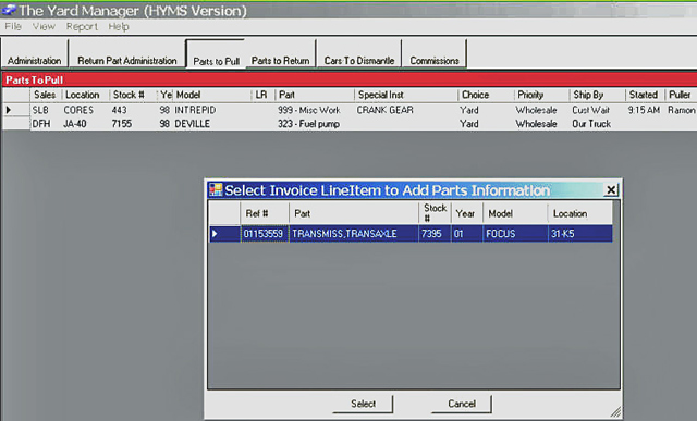HYMS - The Yard Manager Salvage Yard Software Auto Parts Software ...
